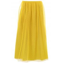 Red valentino gonna midi plumetis Donna 42 Giallo