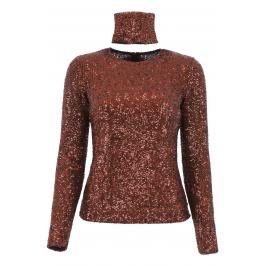 Gianluca capannolo top paillettes Donna XS Marrone/Rosso