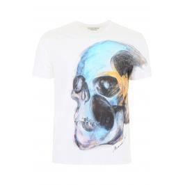 Alexander mcqueen t-shirt stampa painted skull Uomo L Bianco Cotone